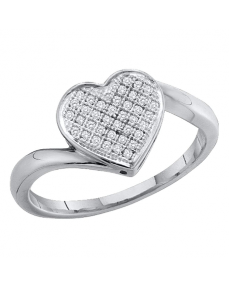 Sterling Silver Pave-set Diamond Heart Ring (.05ct)
