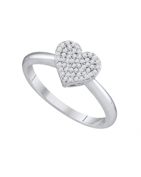 Diamond Heart Love Ring in 10kt White Gold (.17ct)