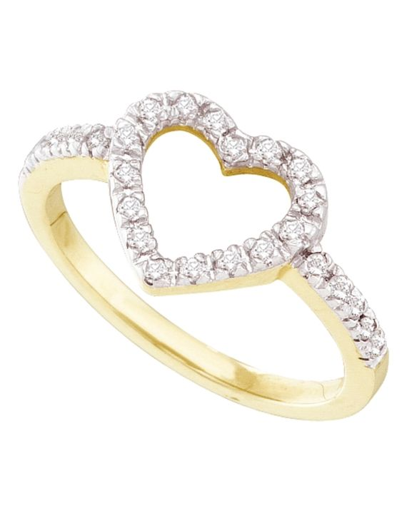 Diamond Simple Heart Ring in Yellow Gold (.20ct)