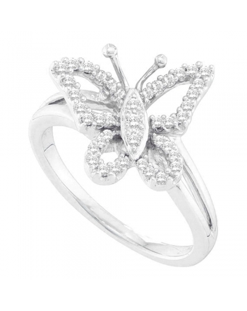 Diamond Butterfly Ring in 14kt White Gold (.25ct)