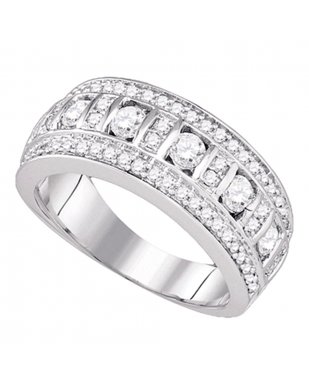Channel-set Triple Row Band in 14kt White Gold (1.00ct)