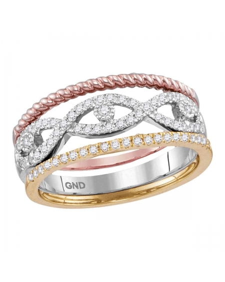 Tri-Tone Stackable Rope Band Set in 10kt Gold (.33ct)