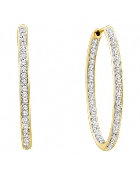Diamond In-Out Endless Hoop Earrings in 14k Yellow Gold (.50ct)