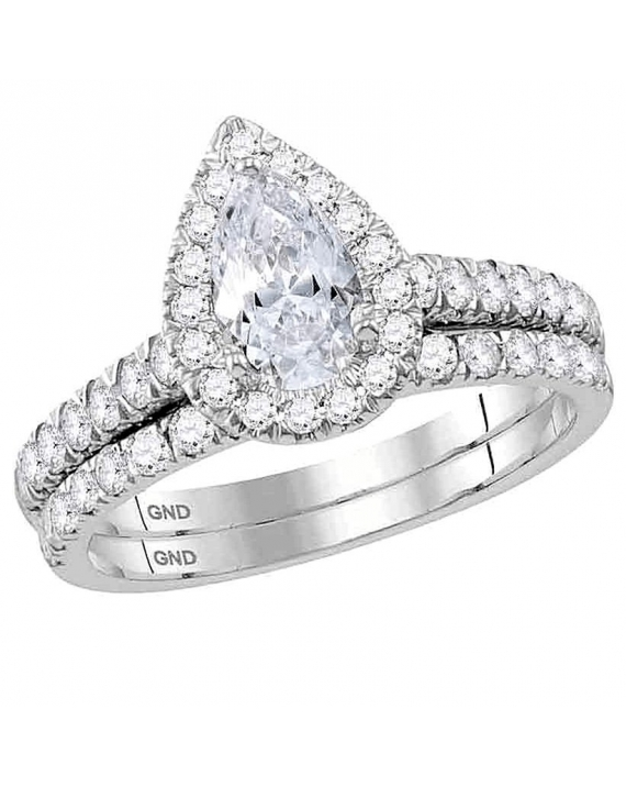 Pear Diamond Engagement Ring Band Set in 14kt White Gold (1.50ct)