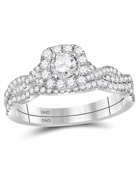 Diamond Twist Engagement Ring in 14kt White Gold (.62ct)