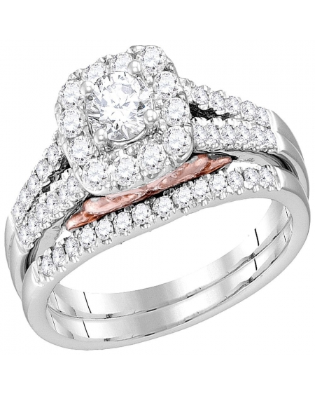 Diamond Halo Engagement Ring Band Set in 14kt White Gold (1.00ct)
