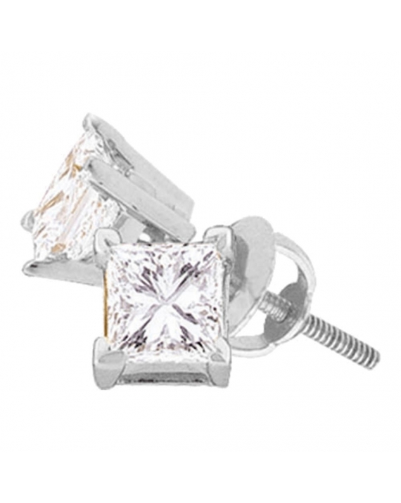 Princess Diamond Solitaire Stud Earrings in 14kt White Gold (1.00ct)