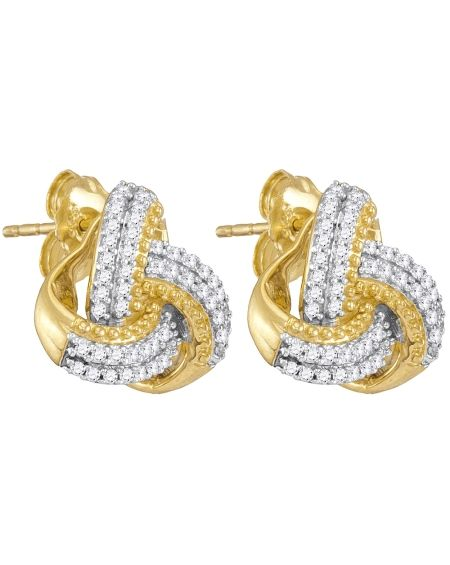 Diamond Love Knot Stud Earrings in Yellow Gold (.25ct)