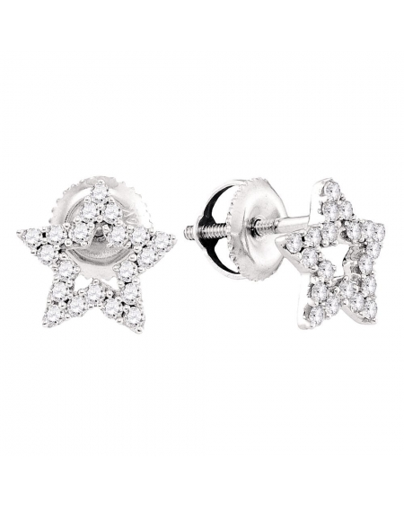 Diamond Star Stud Earrings in 14kt White Gold (.25ct)
