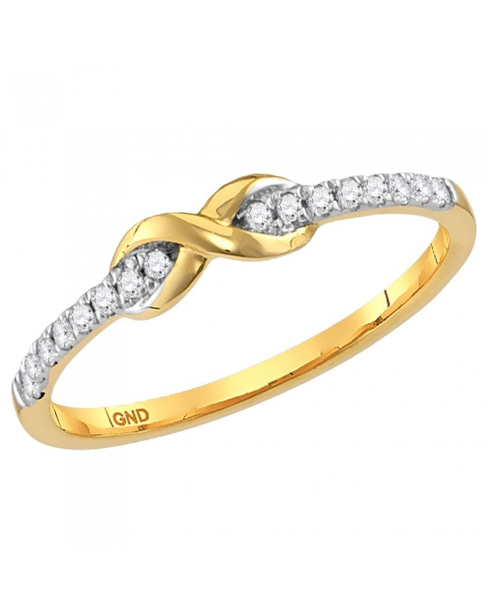 Diamond Infinity Knot Stackable Ring in Gold 10ct