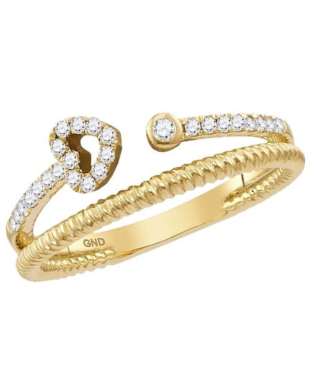 Diamond Heart Bisected Stackable Band Ring in Gold (.17ct)