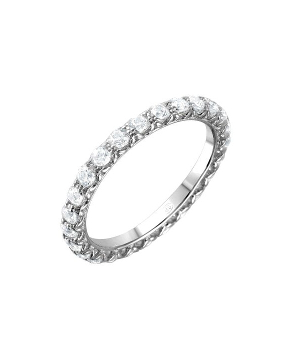 Sterling Silver Round CZ Eternity Band