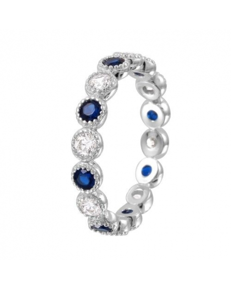 Sterling Silver Round Sapphire Eternity Band