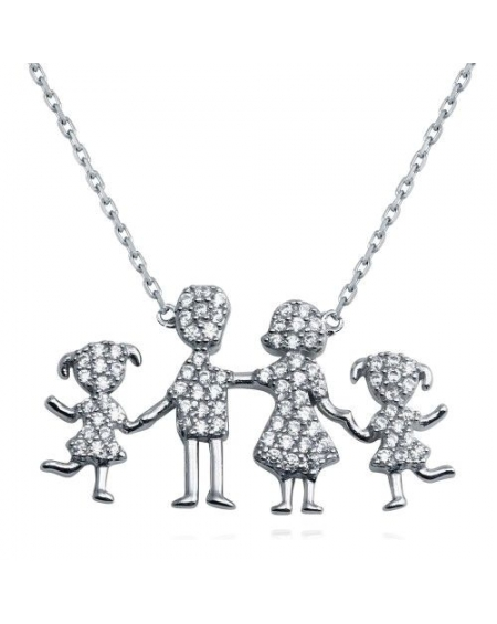 Sterling Silver Family Pendant Two Girls Necklace