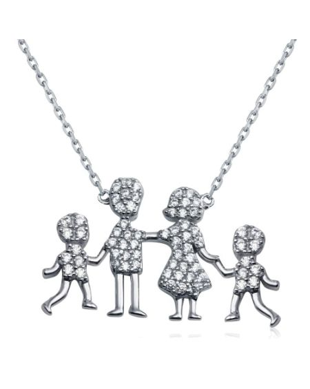 Sterling Silver Family Pendant Two Boys Necklace