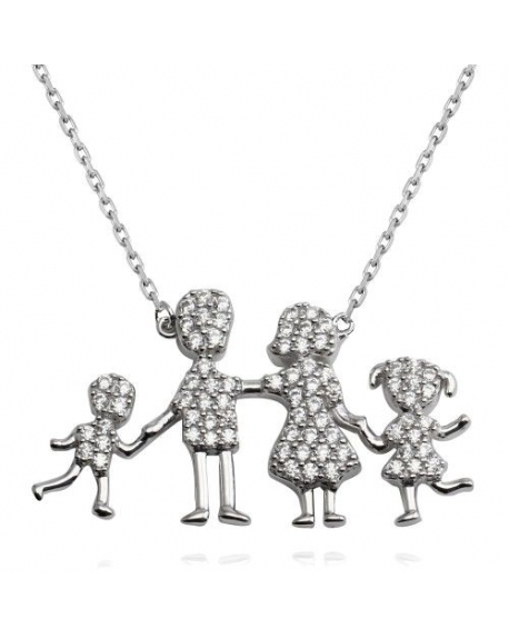 Sterling Silver Family Pendant One Girl-One Boy Necklace