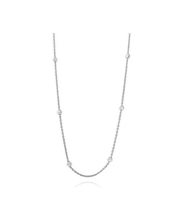 Sterling Silver Round Diamond Cut Beaded Necklace