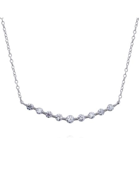 Sterling Silver Round CZ Domed Necklace