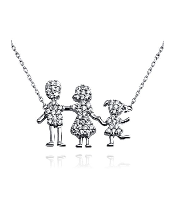 Sterling Silver Family Pendant One Girl Necklace
