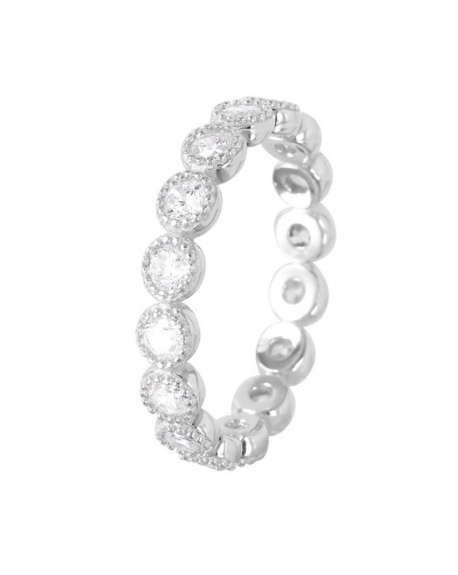 Sterling Silver Round Design Eternity Band