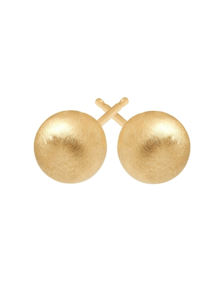 9.5mm Satin Ball Stud Earrings in 14kt Yellow Gold