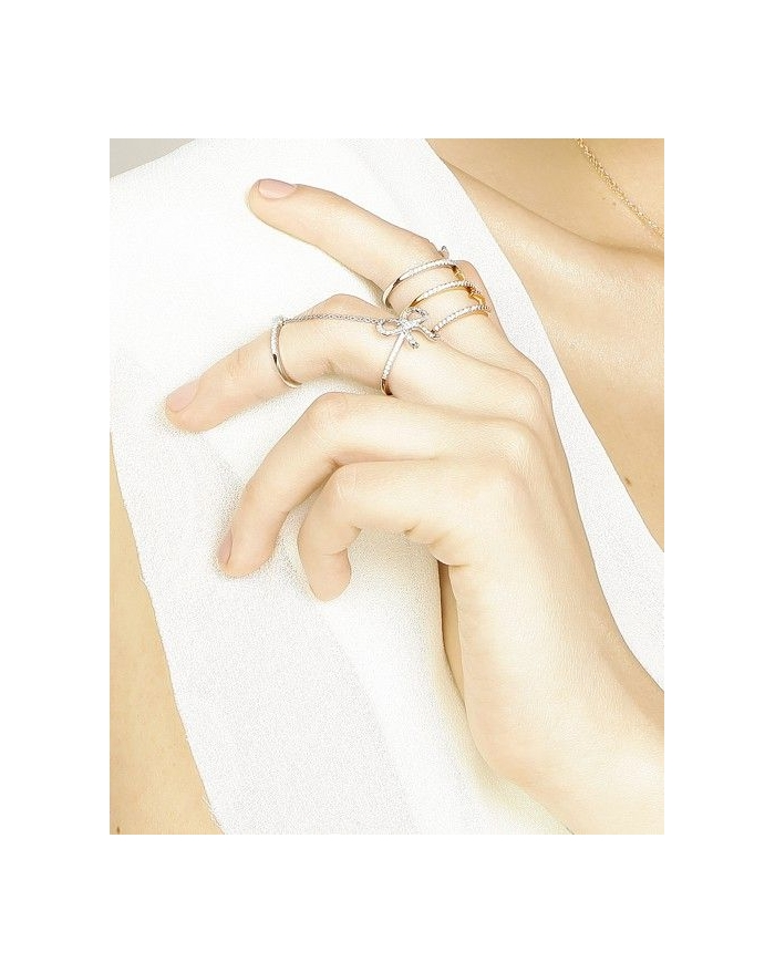 double bow white gold ring